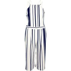 I'm shopping Navy stripe strappy cropped jumpsuit in the River Island iPhone app.