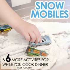 SNOW MOBILES: A perfect activity for toddlers while you are cooking dinner; keep kids entertained during dinner time prep; 6 activities for while you are cooking Activities To Do With Toddlers, Outdoor Activities For Kids, Toddler Learning Activities, Craft Activities For Kids, Winter Activities, Infant Activities, Preschool Winter, Craft Ideas, Toddler Fun