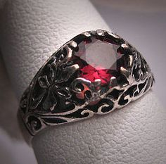 Antique Garnet Wedding Ring Vintage Victorian Filigree