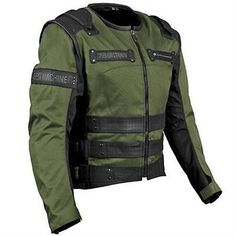 Speed-Strength-Rage-with-the-Machine-Olive-Motorcycle-Jacket-Vest-w-Armor-2XL