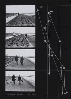 Dora Maurer, Studies of Minimal Movements (walk on the seashore with Klaus Groh), 1972 – gelatin silver prints, chalk, felt pen, transparent paper on cardboard, 70 x 50 cm.  Image Courtesy of Dora Maurer.