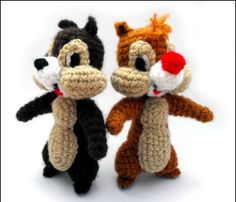 chip y chop amigurumi Cute Crochet, Crochet For Kids, Crochet Dolls, Crochet Baby, Chip Und Dale, Yarn Crafts, Sewing Crafts, Crochet Disney, Crochet Patterns