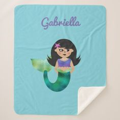 Personalized Girls Brunette Mermaid Faux Foil Fin Sherpa Blanket - girl gifts special unique diy gift idea
