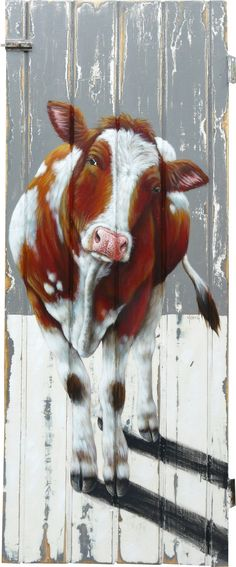 Roodbonte koe op deur / Red cow on an old door - 52 x 128 cm Decoupage, Cow Painting, Cow Art, Pallet Art, Animal Paintings, Street Art, Canvas Art, Decoration, Drawings