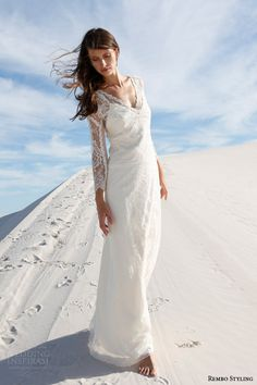 rembo styling bridal 2015 imma v neck wedding dress long illusion sleeves full view