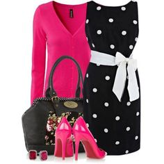 White Dotted black base dress and bag for ladies