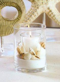 Simple beachy candle idea                                                                                                                                                      Mais