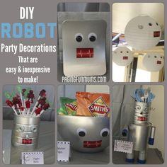 Robot Party Decoration Ideas - Paging Fun Mums regarding Robot Party Decorations - Best Home & Party Decoration Ideas 4th Birthday Parties, Boy Birthday, Birthday Ideas, Third Birthday, Robot Baby Showers, Robot Cake, Robot Theme, Diy Robot, Robot Crafts