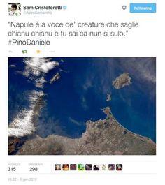 Il bellissimo tweet dell'Astronauta italiana Samantha Cristoforetti dedicato a Pino Daniele con la foto del Golfo di Napoli ripreso dallo spazio