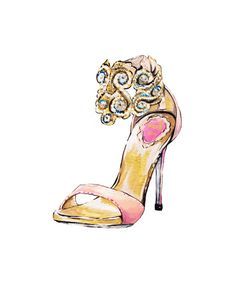 Print of Pink and Gold High Heel Fashion Illustration by Talula Christian