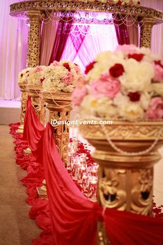 Round Gold Mandap with Maroon and Mauve accents by iDesignEvents.com