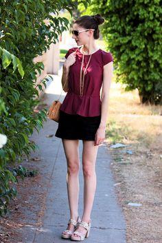 Burgandy peplum top with gold collar necklace.  #style #outfit #burgandy #peplum