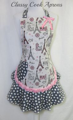 Apron PARIS Très Chic, GLITTERED Pink Grey & Silver, CHIFFON Rosette Trim, Girly Pretty Party Hostess Kitchen Gift, by ClassyCookAprons, $38.50 Retro Apron, Aprons Vintage, Homemade Aprons, Jean Apron, Childrens Aprons, Cool Aprons, Girly, Sewing Aprons, Apron Designs