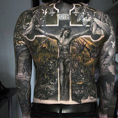 100 Religious Tattoos For Men Sacred Design Ideas Hi Here we have nice picture about jesus tattoo designs on back. We wish these photos can. Tattoos For Guys Badass, Dope Tattoos, New Tattoos, Faith Tattoos, Cross Tattoos, Tatoos, Awesome Tattoos, Religious Tattoos For Men, Catholic Tattoos