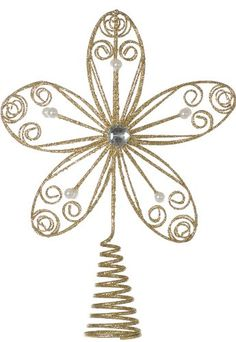 Festive Productions Flower Christmas Tree Topper with Pearls 30 cm Gold *** Details can be found by clicking on the image.