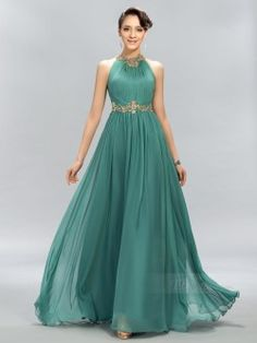 Ruched Jewel Beading A-Line Prom Dress