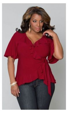 Whimsical Wrap Plus Size Top in Crimson by Kiyonna