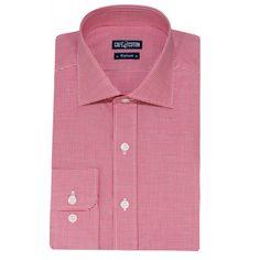 Chemise coupe cintrée en Vichy rouge - Café Coton #chemise #chemisehomme http://www.cafecoton.fr/nouveaux-cols/10985-chemise-coupe-cintree-en-vichy-rouge.html