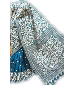 Turquoise blue Kantha Work Silk Saree