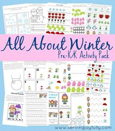 About Winter Pre-K/K Printable Fun Pack Free Kindergarten Printables: Pages Winter Set Preschool Themes, Preschool Printables, Preschool Learning, In Kindergarten, Fun Learning, Teaching, Pre K Activities, Winter Activities, Learning Activities