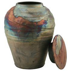 Blue Copper Fire Raku Ceramic Cremation Urn   Ceramic Urns & Raku Urns