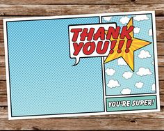 vintage superhero paper | INSTANT DOWNLOAD - Printable Superhero Vintage Comic Book Birthday thank you card