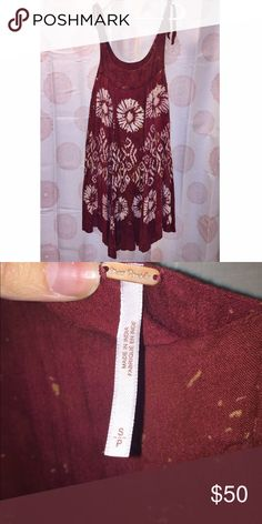 Free People Dress Free People Maroon Print Dress. Only worn a couple times and in very good condition.   * Double layered * Beautiful Detailed Print * Machine Wash Cold * 59% Rayon, 41% Cotton * Import Free People Dresses Midi