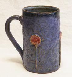 ceramic garden coffee mug 16oz stoneware 16A071 by desertNOVA, $24.00