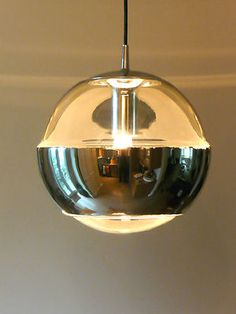 Original 1970s PUTZLER Glass Ceiling Lamp Eames Panton Space Age 60s era