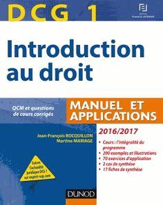 DCG 1 : Introduction au droit : manuel et applications / IAE Bibliothèque, Salle de lecture - DCG-1 2016