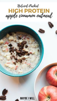 THIS DELICIOUS AND COMFORTING APPLE CINNAMON PECAN HIGH PROTEIN OATMEAL IS PACKED WITH NUTRIENTS AND DELICIOUSNESS TO HELP ENERGIZE AND POWER YOUR DAY! Healthy Eating Recipes, Healthy Breakfast Recipes, Best Breakfast, Brunch Recipes, Healthy Snacks, Breakfast Ideas, Healthy Eats, Protein Recipes, Keto Snacks