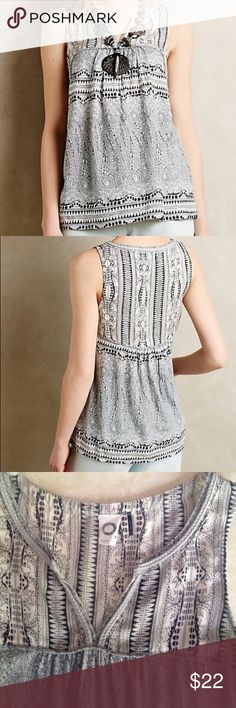 """Anthropologie Raina Tank Akemi & Kin's exotic print in hues of gray, pale blue, and charcoal. Cotton and modal. Pull-over styling. V-neck. 25"""" in length. Bust measure 18"""" laying flat. Excellent condition. Anthropologie Tops Tank Tops"""