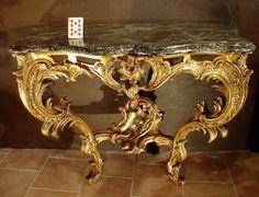 Console Bois Doré 18eme siècle French Furniture, Classic Furniture, Luxury Furniture, Antique Furniture, Antique Console Table, Console Tables, Versailles, Rococo, Baroque