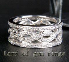 Unique Eternity Band 1 05ct Diamond Solid 14k White Gold Women Mens Wedding Ring | eBay