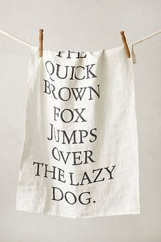 The quick brown fox jumps over the lazy dog dish towel