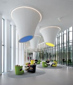 Loud and Clear: Alcatel-Lucent Calls on DEGW Italia for Milan Campus, Italy Interior Design Magazine, Office Interior Design, Luxury Interior Design, Office Interiors, Interior Architecture, Design Interiors, Office Designs, Mall Design, Lobby Design