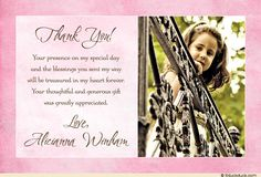 Communion Blessings Photo Card - Girl's Thank You Soft Pink Note