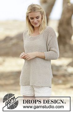 Ravelry: 160-5 Perly May pattern by DROPS design. Free pattern.  Mesh, ballet-neck sweater in linen/cotton blend, Aran weight.