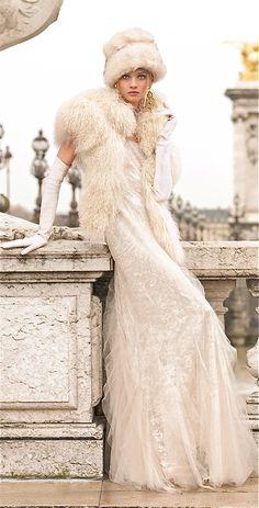 Ralph Lauren / The Winter Princess Gown -- Portrait - White Fashion - Editorial - Photography - Pose Idea