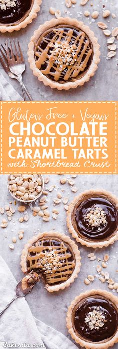 Chocolate Peanut Butter Caramel Tarts have a crunchy shortbread crust that's filled with a creamy peanut butter date caramel and topped with creamy chocolate ganache! This decadent tart recipe is gluten-free, grain-free and vegan. Gluten Free Baking, Gluten Free Desserts, Vegan Desserts, Easy Desserts, Delicious Desserts, Dessert Recipes, Gluten Free Tart Recipe, Paleo Sweets, Mini Desserts