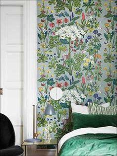 by BorasTapeter Wallpaper featured in Scandinavian Designers II from Brewster, Bedroom Wallpaper Room Set Photos Decorative Panels, New Wallpaper, Flower Wallpaper, Colour Schemes, Room Set, Scandinavian Design, Aurora, Minimalism, Ikea