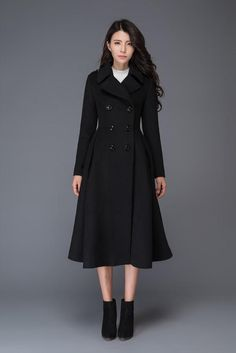 Winter wool coat/ black women's coat/suit collar/ warm by Winter Coats Women, Coats For Women, Jackets For Women, Ladies Coats, Wool Winter Coats, Long Wool Coat, Vintage Coat, Coat Dress, Frock Coat