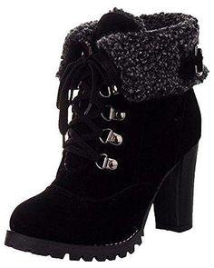 Oferta: 23.92€. Comprar Ofertas de Minetom Mujer Invierno Calentar Botines Tacón Alto Boots Cortas Zapatos De Cordones Martin Botas Negro EU 39 barato. ¡Mira las ofertas!