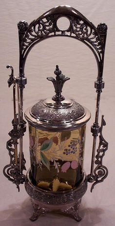 Vintage Victorian Pickle Castor Green Panel Glass Hand Painted Flowers. Décor Antique, Antique China, Vintage Antiques, Glass Bottles, Perfume Bottles, Brides Basket, Condiment Sets, Pickle Jars, Antique Glassware