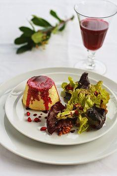 savory Greek cheese flan, ancient Greek food, pomegranate sauce, ricotta flan