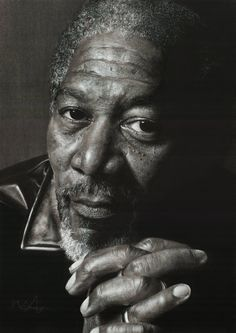 Morgan Freeman by ~scratch12 on deviantART ~ AMAZING detail! Artist: Mark from New Zealand, using charcoal, carbon pencil and white pastel on Canson grey paper.