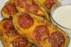 Pepperoni Pizza Potato Skins - Dipped in Ranch and taste amazing! Kid tested and APPROVED!