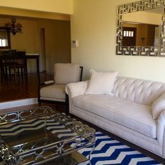 coastal chic with our roberto sofa and mongolian pillows--on