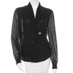 Vintage Gucci blouse Black button up blouse with sheer back and sleeves. . A strip of material with fringe detail falls over the buttons. Shirt is in great condition. Sized xl but fits more like L. Feel free to ask questions or for more pics Gucci Tops Blouses