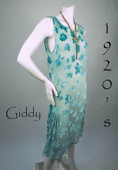 Lovely 1920's Teal Blue Silk Chiffon Devoré Velvet Dress